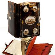 SOLD Superb Grand Tour Souvenir Necessaire, Etui, Notebook, 5 Views of Paris Monuments c.1850