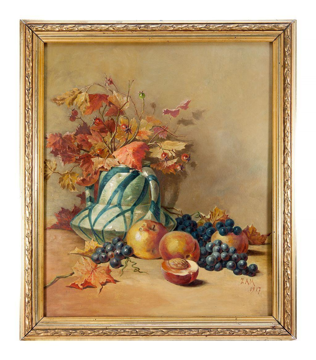 Antique French Oil Painting Still Life Signed C 1917