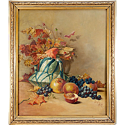 """SALE Antique French Oil Painting, Still Life, Signed, c.1917, Frame 24"""" x 21"""""""