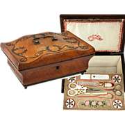 SOLD RARE Antique French Palais Royal Sewing Box, 18k Gold and Mother of Pearl Tools