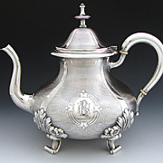 SALE Elegant Antique French Sterling Silver Coffee or Tea Pot, Guilloche Style Decoration, LG