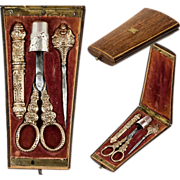 SOLD Antique French Sterling Silver & Vermeil (18k Gold) Sewing Set in Wood Etui, Case