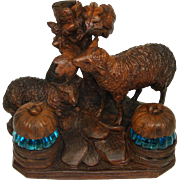 SOLD RARE Antique Black Forest Carved Double Inkwell, Inkstand: Two Sheep or Lamb Figures & ..