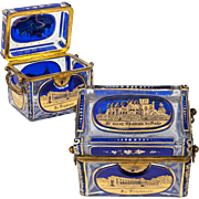 SALE Superb Antique Bohemian Glass Sugar Casket, Moser Box, 5 Engraved Grand Tour Souvenir ...