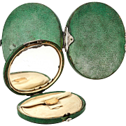 SALE Antique French Purse, late 1700s Shagreen with Silk Coin Purse Inside, Mirror