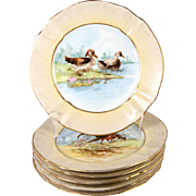 """SALE Antique H.P. French M. Redon Limoges 8.75"""" Diam Game Bird Plate Set ..."""