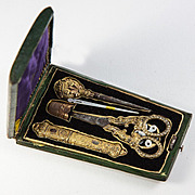 SALE Antique French Sewing Etui, Tools, Sterling Silver Vermeil, (18k Gold) Palais Royal