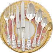 SALE Magnificent Antique French Sterling Silver 64pc Flatware Set, Highly Ornate, Cornucopias