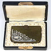 SALE Antique Leather Purse, Wallet, French Sterling Silver Adorned, in Orig.Box. Lion, Thistle