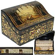 SOLD Antique Victorian Era Papier Mache Stationery Box, Casket, Gothic w/ Painted Scene