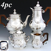 SALE Elegant Antique French Sterling Silver 4pc Coffee & Tea Set, Empire or Classical Laurel G