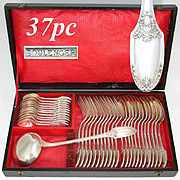 SALE Gorgeous Antique French Silver Plated 37pc Dinner Sized Flatware Set, Storage Chest, Box