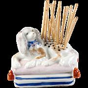 SALE Antique French Old Paris Soft Paste Porcelain Toothpick holder, Dog on Pillow