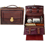 SALE Antique French Grand Tour Travel Valet, Vanity Items in Leather Valise, Case, or Etui