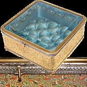 "SALE Rare Antique French 6.5"" Ormolu & Beveled Glass Jewel Box, Vitrine, Enamel Heiroglyp"