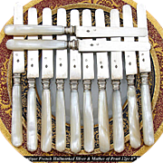 SALE Antique French 12pc Sterling Silver & Pearl Handled Knife Set