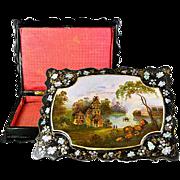 SALE Antique Victorian HP Papier Mache Jewelry Box, Casket