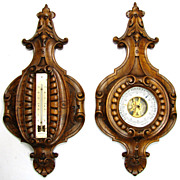 """SOLD Wonderful Antique French Black Forest Carved 16.5"""" Wall Barometer & Thermometer PAIR"""
