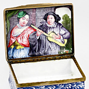 SALE Superb Antique Kiln-fired Bilston Enamel Table Snuff Box, Charming Figures Inside