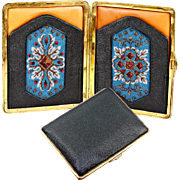 SALE Antique Beadwork & Leather Cigar Cigarette Case, Suitable for Cell Phone or Evening .