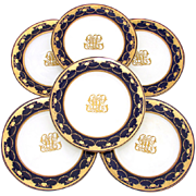 "Set of Six Antique Minton 10"" Dinner Plates, Cobalt & Thick Raised Gold Enamel"