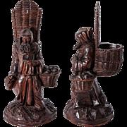 SALE RARE Antique Hand Carved Black Forest Pocket Spill Vase, Cigar Stand or Match Holder