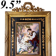 """SOLD Superb Antique French 9.5"""" Tall Empire Frame with Fine Signed Limoges Kiln-fired Ena"""