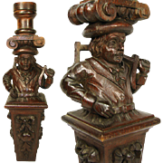 SALE Antique Hand Carved Figural Support, Architectural Salvage from 19th c. Furniture, Bar #3