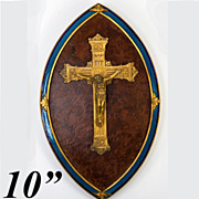 SOLD Antique French Kiln-fired Enamel & Dore Bronze Crucifix on Burled Wood Mount - Gorgeous!