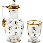 SALE Fine 19th Century French Carafon and Tumblar, Daum Crystal, Raised Gold Enamel Decanter .