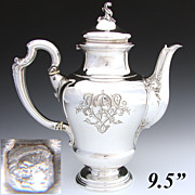 "SALE Gorgeous Antique French Sterling Silver 9.5"" Coffee or Tea Pot, circa 1896"