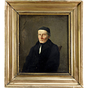 SOLD Antique French Portrait of a Monk, Oil Painting on Canvas, Listed Artist Signed Jos. Eggl