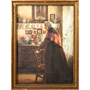 SOLD Antique French Painting in Miniature by Georges Hippolyte DILLY, 1900, in frame