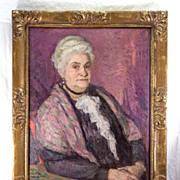 """Antique Oil Painting, Impressionist Portrait of a Charming Matron, Elegant French Art Nouveau Frame, 33"""" x 26.5"""""""