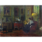 SALE IMPORTANT: Oil Painting, 1900-07 Interior by American Impressionist, Frederick VEZIN,  ..