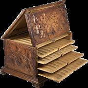 SALE Antique 19th c. Black Forest Hand Carved Wood Cigar Server, Not Humidor, 5 Shelves