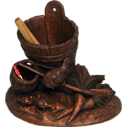 SOLD Antique Victorian Black Forest Cigar or Tobacco & Match Stand, Hen with Chicks