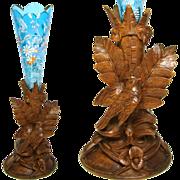 """SALE Superb Antique Black Forest Carved 13"""" Epergne Stand or Vase, Electric Blue Glass"""