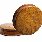 """Large 4.25"""" Diam Antique French Burl Wood Snuff Box, Set with Ruby or Garnet Gem"""