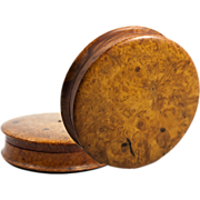 """SALE Large 4.25"""" Diam Antique French Burl Wood Snuff Box, Set with Ruby or ..."""