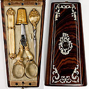 SOLD Antique French Sewing Etui, (Case) Tools in 18k Gold Scissors, Needle Case, etc.