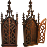 """SOLD Rare Antique Gothic Style Carved Wood 28"""" Niche or Cabinet, Religious Relic or Sculp"""