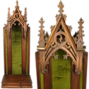 """SOLD Rare Antique Gothic Style Carved Wood 33"""" Religious Niche, Relic or Sculpture Displa"""