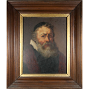 SALE Antique French Oil Painting, Portrait of a Jewish Rabbi, Frame