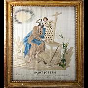 SALE RARE c.1819 Napoleonic Silk on Silk Embroidery Sampler #4 in Frame, Saint Joseph ...