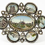 SALE Antique French Paris Expo Grand Tour Souvenir Tray, 7 Eglomise Views of Monuments, c.1889