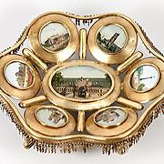 Antique French Paris Expo Grand Tour Souvenir Tray, 7 Eglomise Views of Monuments, c.1890