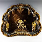 SALE Rare Antique Victorian Papier Mache Butler's Tray, MOP Inlays, Gold Enamel