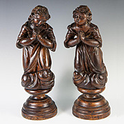 "SALE Pair: Antique French Hand Carved Angels on Turned Wood Plinth 11.75"" Tall"