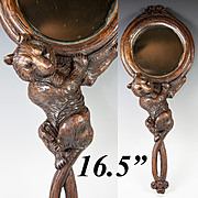 "Fab Antique Black Forest Bear Hand Mirror, 19th c. Hand Carved and 16.5"" Long"